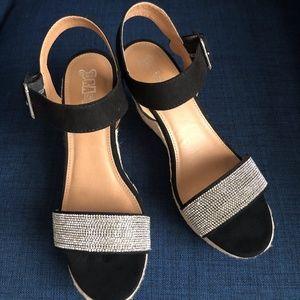 SASSY PRETTY Rope Wedge w/ rhinestones.  9M Shoes